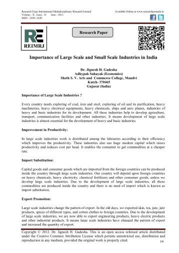 Importance of Large Scale and Small Scale Industries in India
