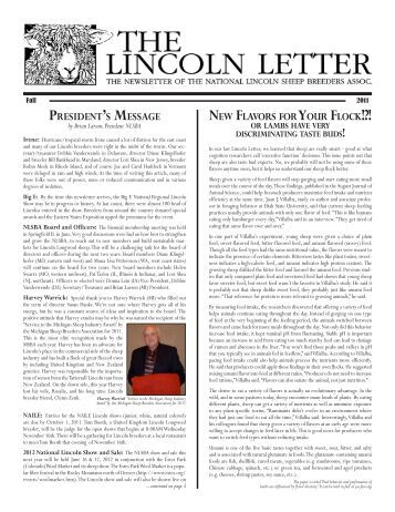 Fall 2011 - National Lincoln Sheep Breeders Association