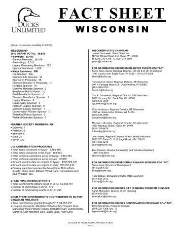 Wisconsin's state fact sheet - Ducks Unlimited
