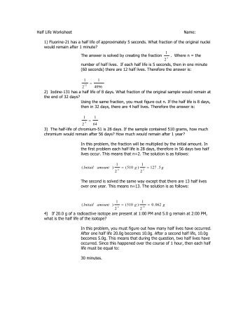 Half life review problems worksheet answers