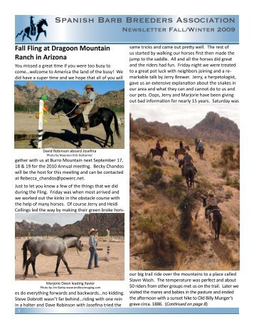 Newsletter Fall/Winter 2009 - Spanish Barb Breeders Association