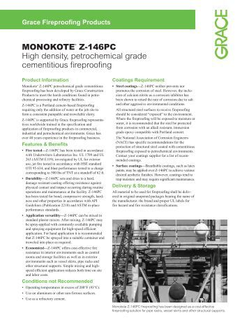MONOKOTE® Z-146PC High density, petrochemical grade - Grace ...