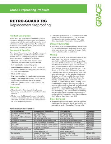 RETRO-GUARD® RG Replacement fireproofing - Grace ...