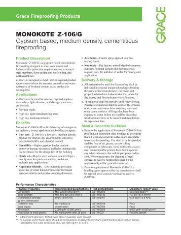 MONOKOTE® Z-106/G Gypsum based, medium density - Grace ...