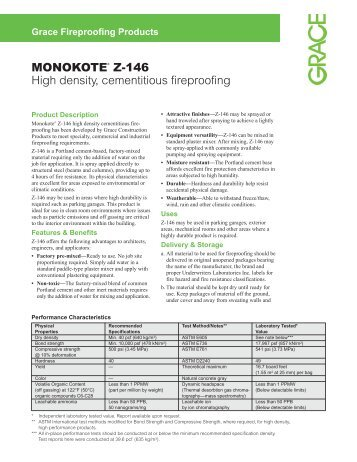 MONOKOTE® Z-146 High density, cementitious fireproofing - Grace ...