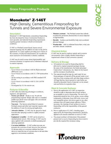 Monokote® Z-146T High Density, Cementitious Fireproofing for ...