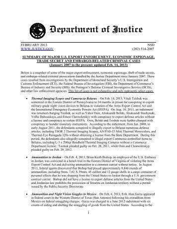 Summary of major u.s. export enforcement - Department of Justice