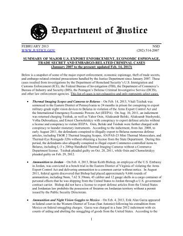 Summary of major u.s. export enforcement - Department of Justice