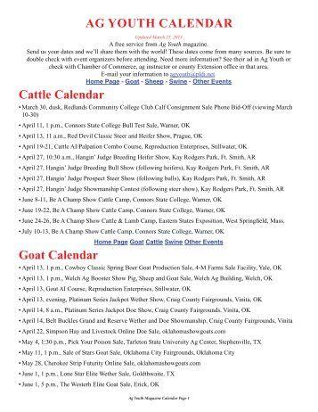 Cattle Calendar Ag Youth CAlendAr - Ag Youth Magazine