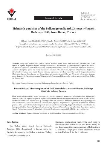Helminth parasites of the Balkan green lizard, Lacerta trilineata ...