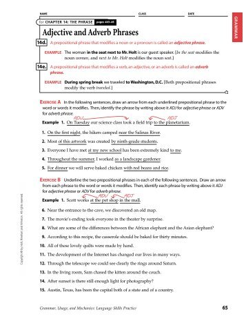 Prepositional phrases as adjectives and adverbs worksheets pdf