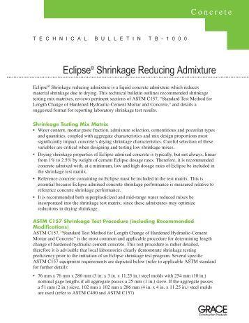 Eclipse® Shrinkage Reducing Admixture - Grace Construction ...