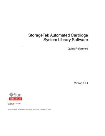 1 ACSLS Quick Reference - Docs Oracle