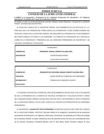 Cambio Comisiones 14 Dic 2012 - Consejo de la Judicatura Federal