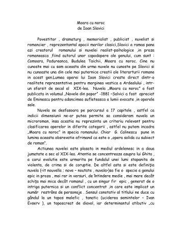 Moara cu noroc de Ioan Slavici Povestitor , dramaturg , memorialist ...