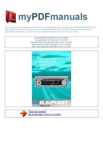 User manual BLAUPUNKT LUCCA 3.5 EEU - MY PDF MANUALS