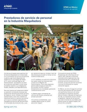 Prestadoras de servicio de personal en la Industria Maquiladora