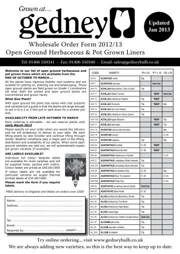 Open Ground & Liners Order Form - 2012/13 - Gedney Bulb Company