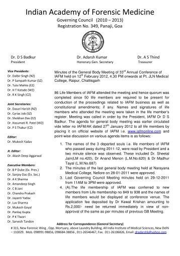Indian Academy of Forensic Medicine - Official website of IAFM