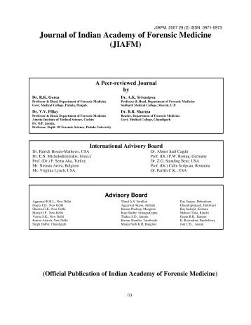 Journal of Indian Academy of Forensic Medicine (JIAFM)
