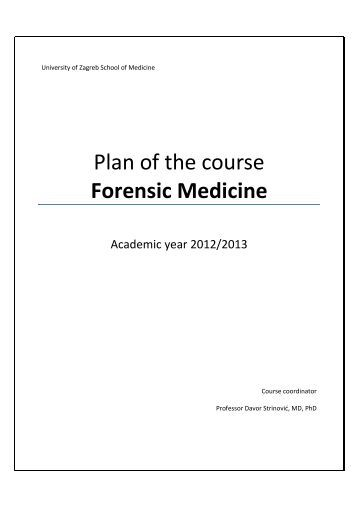 Plan of the course Forensic Medicine