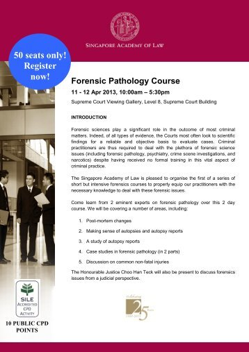 Forensics Pathology Course - Singapore Academy of Law