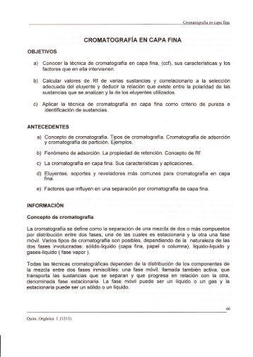 CROMATOGRAFIA EN CAPA FINA - quimica organica