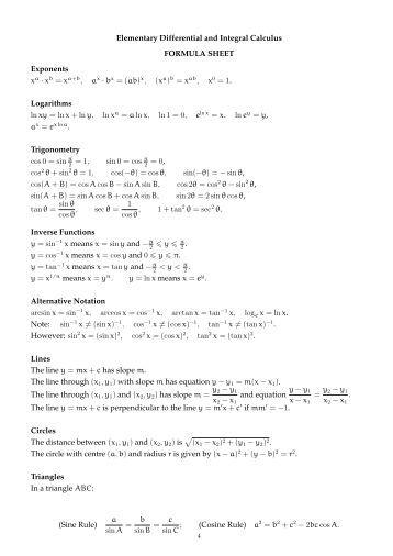 differential and integral calculus formulas pdf