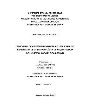 programa de adiestramiento para el personal de enfermería de la ...