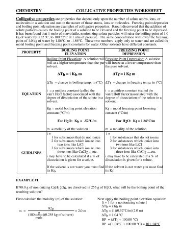 Chemistry colligative properties worksheet practice problems answers