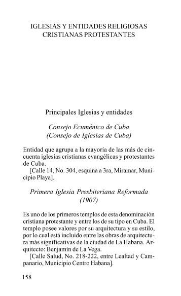 IGLESIAS Y ENTIDADES RELIGIOSAS CRISTIANAS ... - La Jiribilla