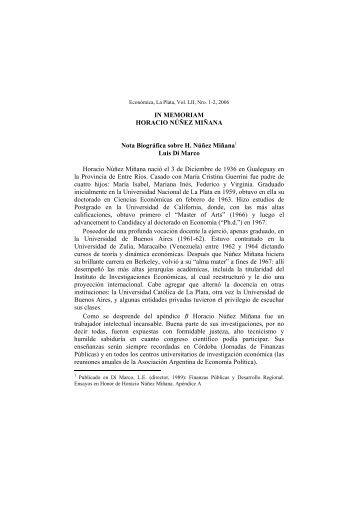 IN MEMORIAM HORACIO NÚÑEZ MIÑANA Nota Biográfica sobre H ...