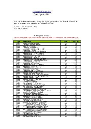 Catalogue 2011 - Pépinière du Vent Val
