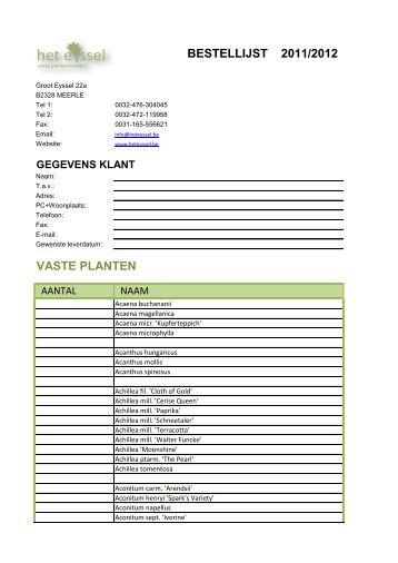 BESTELLIJST 2011/2012 VASTE PLANTEN - Het Eyssel