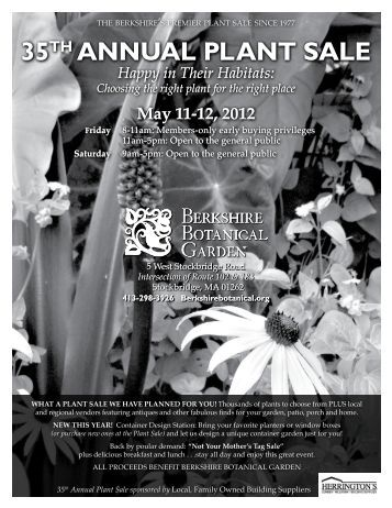 Berkshire Botanical Garden 35th Annual Plant Sale