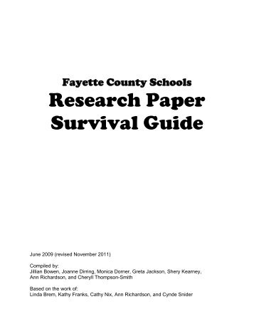 research paper survival guide A student writer's survival guide edited by science students are urged to use this guide as a tool toward successfully negotiating the writing challenges do research • outline your paper generating ideas: this is the part of the process that makes it so hard for many writers to get started on their projects.