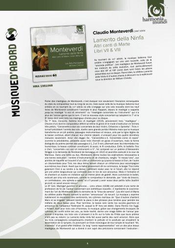 Lamento della Ninfa - Harmonia Mundi