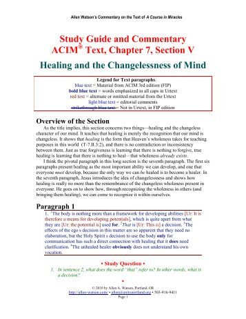 ACIM Study Guide -- Universal Church of Miracle Enlightenment