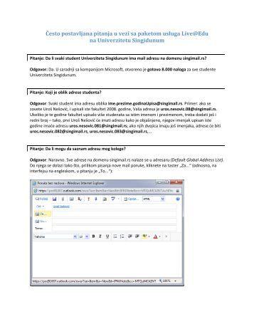Često postavljana pitanja u vezi sa paketom ... - Studentski email