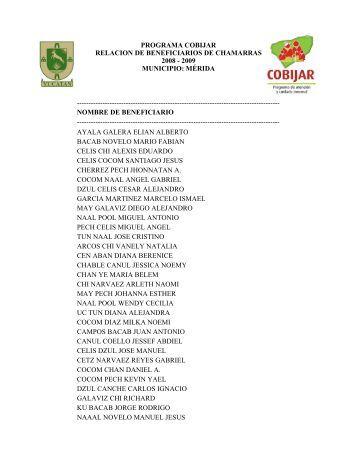 programa cobijar relacion de beneficiarios de chamarras 2008
