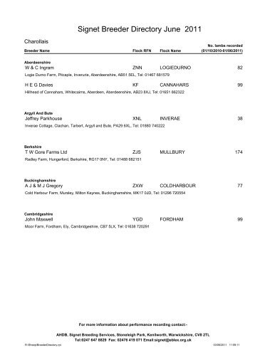Signet Breeder Directory June 2011