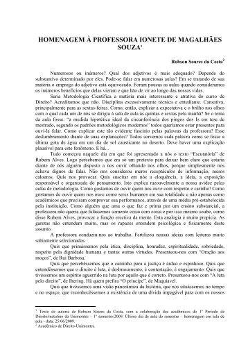 HOMENAGEM À PROFESSORA IONETE DE MAGALHÃES SOUZA1