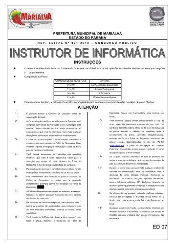 Caderno de Questões Instrutor de Informática