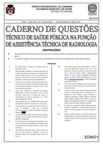 Caderno de Questões - Técnico de Saúde Pública na função de ...