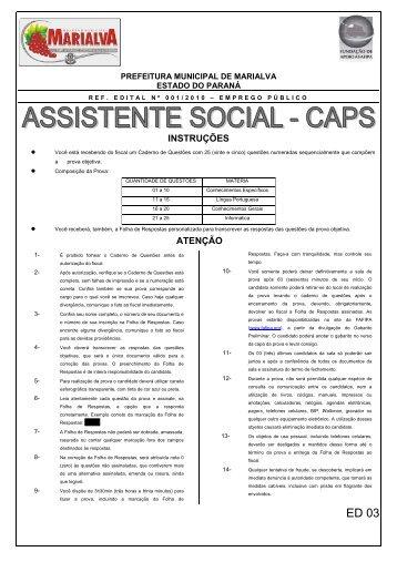 Caderno de Questões Assistente Social CAPS