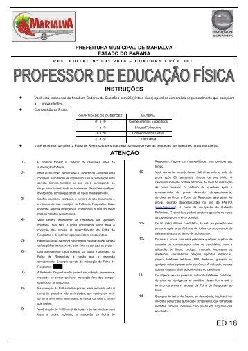 Caderno de Questões Professor Educação Física - Fundação de ...