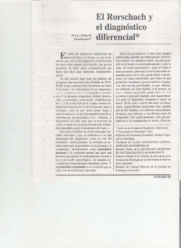 El Rorschach y el diagnóstico diferencial