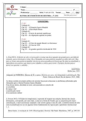 História 3º ano - Colégio Odete São Paio