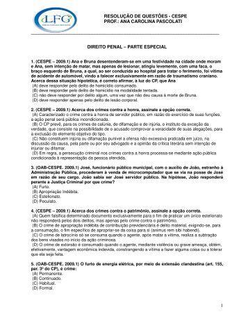 resolução de questões - cespe prof.: ana carolina pascolati - LFG