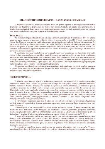diagnóstico diferencial das massas cervicais - OtorrinoUSP